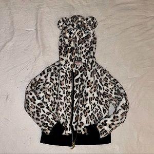 Girls Juicy Couture Leopard Print Zip Up Hoodie XS
